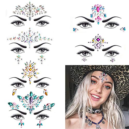 6 Sets Women Mermaid Face Gems Glitter,Rhinestone Rave Festival Face Jewels,Crystals Face Stickers, Eyes Face Body Temporary Tattoos (Day Dreamer)