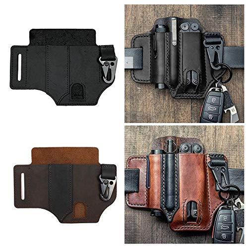 Multitool Funda de cuero EDC Organizador de bolsillo - Alta calidad de cuero (negro)