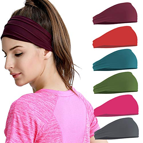 6 Farben Stirnband Damen Sport - Elastisch Stirnbänder Für Sport Laufen Yoga Wicking Haarband Kopfband 9,5 Zoll Herren Damen Nicht rutschende Sportschweißbänder Für Großkopfete