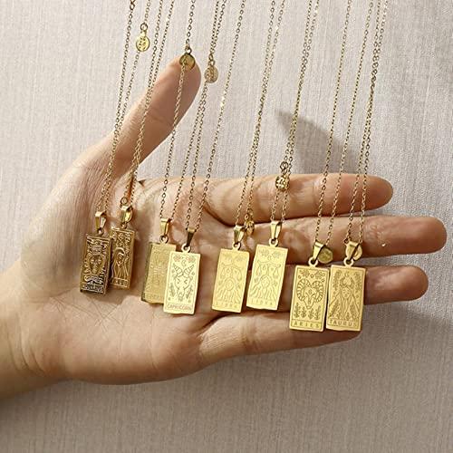 liuliu Horóscopo Vintage Conjuntos de Joyas Femeninas Colgante Cuadrado Collares chapados en Oro de 18 k para Mujer Cadena de Acero Inoxidable con Signo del Zodiaco