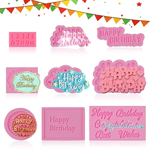 EBANKU 9Pcs Happy Birthday Silicone Molds, Birthday Chocolate Baking Mold Alphabet Resin Casting Mold, Letter Candy Cake Pudding Making Mold Birthday Party Supplies