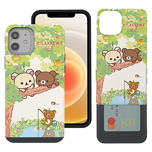 Compatible with iPhone 12 Pro/iPhone 12 Case (6.1inch) Rilakkuma Slim Slider Card Slot Dual Layer Holder Bumper Cover - Rilakkuma Forest