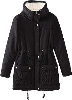 Women's Winter Warm with Drawstring Coat Long Sleeve Parkas Overcoat Fleece Outwear Jacket