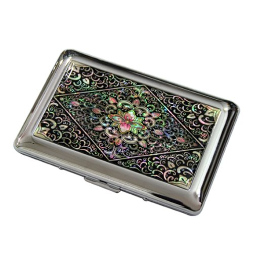 Mother of Pearl Arabesque Design Engraved Metal Stainless Steel Cigarette Holder Case Storage Box
