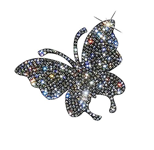Ling's boutique(TM) Various Patterns of Crystal Car Stickers,Decorate Cars Bumper Window Laptops Luggage Rhinestone Sticker,White (Butterfly)