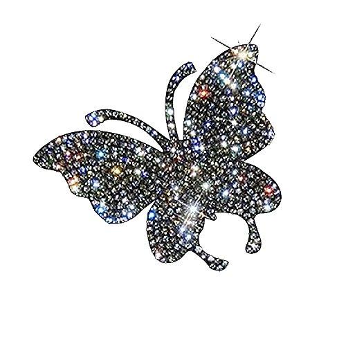 Ling's boutique Verschiedene Muster von Kristall Auto Aufkleber, Dekorieren Cars Bumper Fenster Laptops Gepäck Strass Aufkleber, weiß Schmetterling