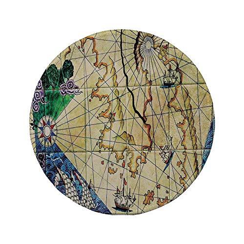 Rutschfreies Gummi-Rundmaus-Pad Kompassdekor Alte Seekarte Alte Karte mit historischen Gebieten Geografische Darstellung Beige Navy 7,87 'x 7,87' x 3 mm