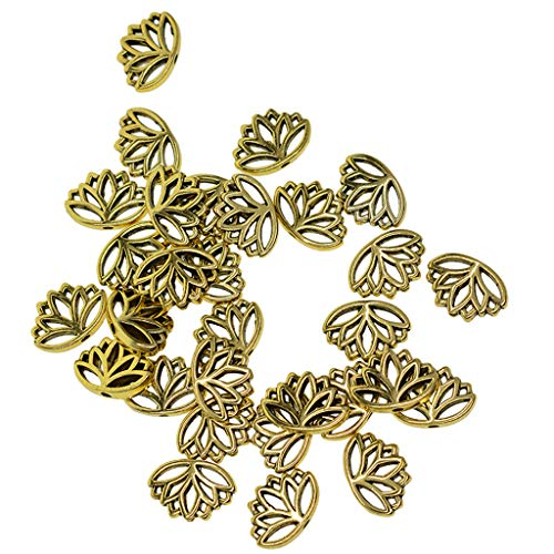MagiDeal 30x Bronce Retro/Metal Dorado Flor de Loto Espaciador Cuentas Sueltas Encantos Artesanías - Bronce, tal como se describe