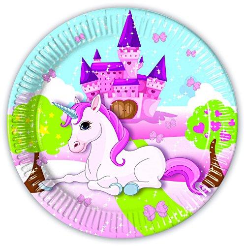 8 Teller * UNICORN * für Kindergeburtstag oder Motto-Party // Party Partyteller Pappteller Plates Motto Einhorn Schloss Pink Traumwelt