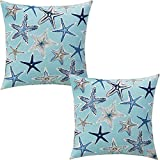 ZUEXT Aqua Starfish Nautical Throw Pillow Covers 16x16 Inch Set of 2, Double Sided Cotton Linen Polyester Ocean Sea Life Starstruck Outdoor Coastal Boat Pillowcase for Sofa Beachy Pirate Home Decor ¡
