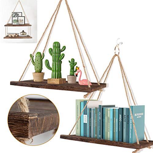 OurWarm Juego de 2 estantes flotantes de madera para colgar en la pared, estantes de cuerda rústica para colgar, decoración de la casa de campo con ganchos para sala de estar, baño, dormitorio, cocina