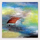 YHXIAOBAOZI Pinturas Al Pintura Al Óleo Pintado A Mano Lienzo Paisajes Pintados A Mano Pinturas De Teja Roja Habitación De Gran Tamaño Moderna Decoración Ilustraciones De Pared Cuadrados para Entrada