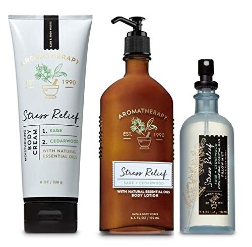 Bath and Body Works NEW Aromatherapy Stress Relief TRIO GIFT SET - SAGE CEDARWOOD - Body Lotion ~ Body Cream and Pillow Mist - Full Size
