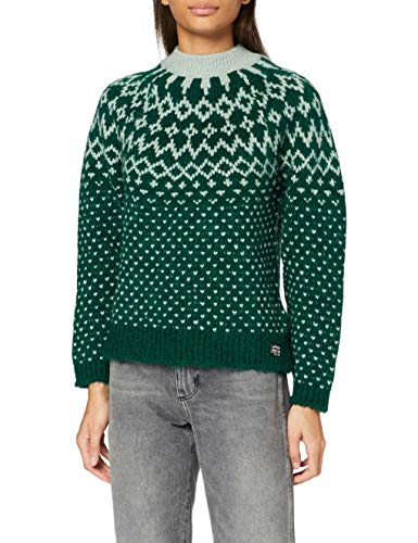 Superdry Chunky Jacquard Crew Pull, Burlington Green, L (Taille Fabricant:14) Femme