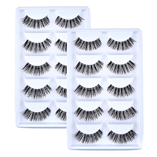 10 Paare Handgefertigte 3D Falsche Wimpern Natürliches Aussehen Wimpern Erweiterung Makeup (0,6 Zoll)