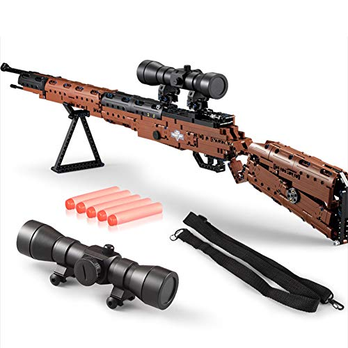 653 Stücke DIY Puzzle Mauser Gewehr 98K Spielzeug frühes pädagogisches montage Gun Modell Spielzeug Kinder Gewehr Bausteine Spielzeug mit EVA Weichkugel Geschenk für Kinder Jungen