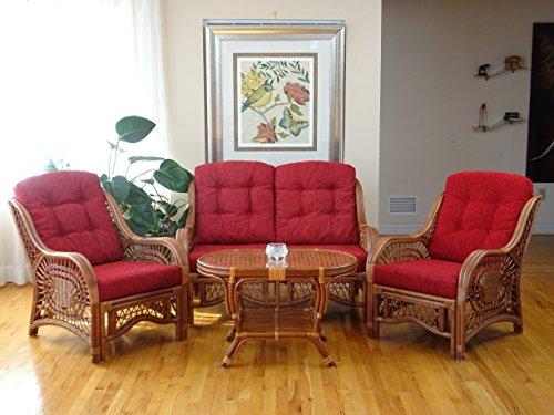 Malibu Lounge Set of 2 Natural ECO Rattan Wicker Chairs, Loveseat with Burgundy Cushion and Coffee Table w/Glass Handmade, Cognac