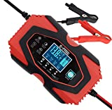 Automatic Smart Car Battery Charger, 12V/6A 24V/3A Compatible Trickle Charger for Car, Battery Maintainer, Pulse Repair Charger Pack for Automotive, Motorcycle, Lawn Mower, Marine Truck and More Red