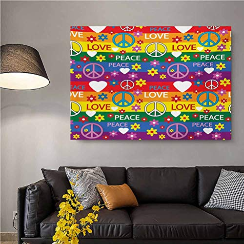 ScottDecor Groovy Custom Canvas Wall Decoration No Frame Heart Peace Symbol Flower Power Political Hippie Cheerful Colors Festival Joyful 2 Year Old Girl Birthday Gift Multicolor L24 x H36 Inch
