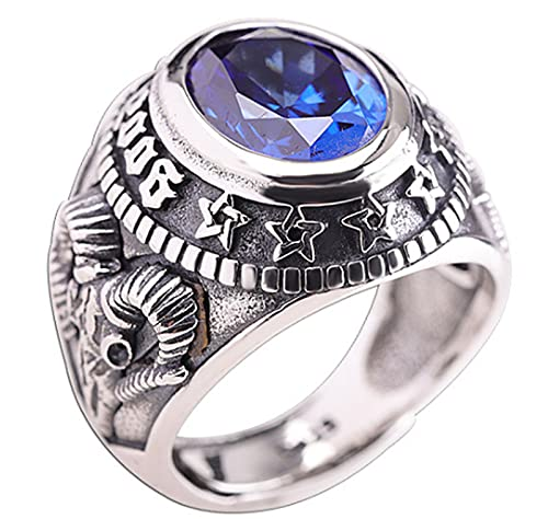 CHXISHOP Anillos de los Hombres Anillo de Plata esterlina estándar Clásico diseñador Estilo Piedras Preciosas Redondas y Anillos de Diamantes Brillantes Reales, tamaño abiert Blue