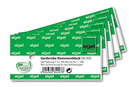 Sigel GN500 numery do garderoby z dziurkowaniem, 500 bonów (ponumerowane 1 – 500, 10,5 x 5 cm)