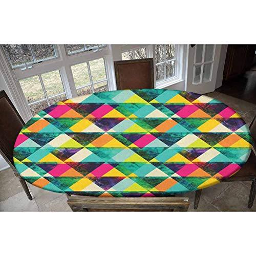 LCGGDB - Tovaglia elastica in poliestere, motivo triangoli acquerello, stile moderno, vivace, variopinto, geometrico, design astratto, allungato/ovale, con elastico, per tavoli fino a 121,9 x 172,7 cm
