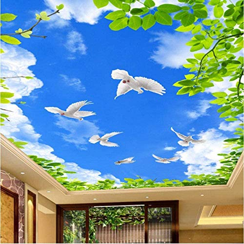 ZJfong blauwe hemel wit groen bladeren duif plafond fresco op maat foto behang woonkamer muurschildering natuurlijke stro behang 3D 250 x 175 cm.
