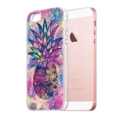 Pnakqil iPhone SE / 5s / 5 Cover Trasparente, Premium Custodia Silicone con Disegni Leggero Ultra Sottile TPU Morbido Antiurto 3d Pattern Bumper Case per iPhone SE / 5s / 5, Ananas Volorato