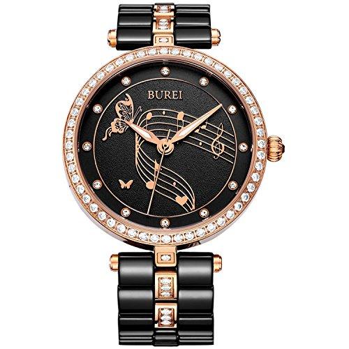 BUREI Elegante orologio meccanico automatico a scheletro femminile con quadrante in vetro zaffiro e cinturino in morbida pelle