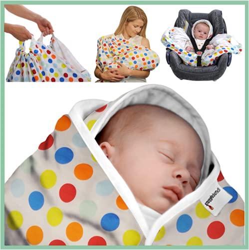 Snugglebundl – Original Crash Tested Car Seat Lift & Lay Transfer Baby Blanket | 0-18m Funky Spots | Move Baby Asleep | Safety Tested Up to 30kg