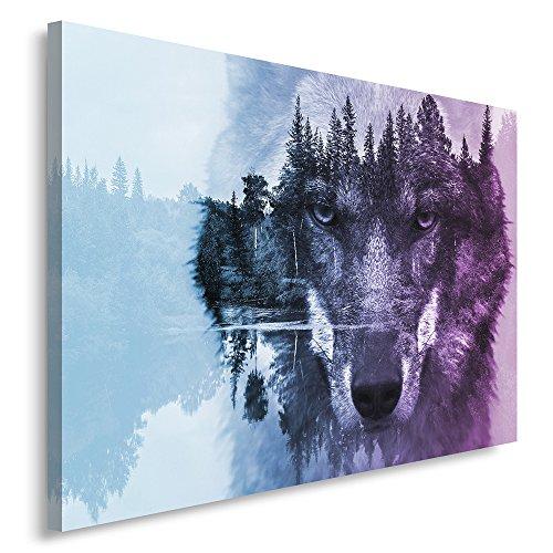 Feeby Frames, Cuadro en lienzo, Cuadro impresión, Cuadro decoración, Canvas de una pieza, 80x120 cm, ANIMALES, LOBO, NATURALEZA, BOSQUE, ÁRBOLES, OJOS, COLORES, MORADO, AZUL