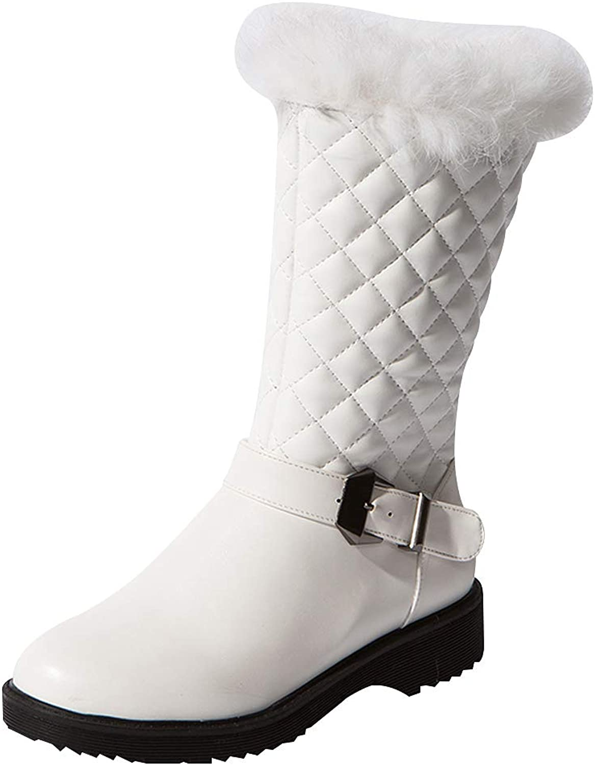 Anufer Womens Fashion Winter Water-Resistant Mid-Calf Snow Boots with Synthetic Fur Lining & Top