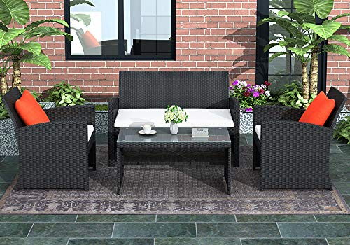 4 Pieces Outdoor Patio Sofa Set, Rattan Loveseat and Chairs with Tempered Glass Tabletop, Cushioned Seats for Garden, Lawn and Backyard (Black)
