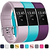GEAK Bands for Fitbit Charge 2, Adjustable Classic Wristbands for Fitbit Charge 2, Small Lavender Teal Plum