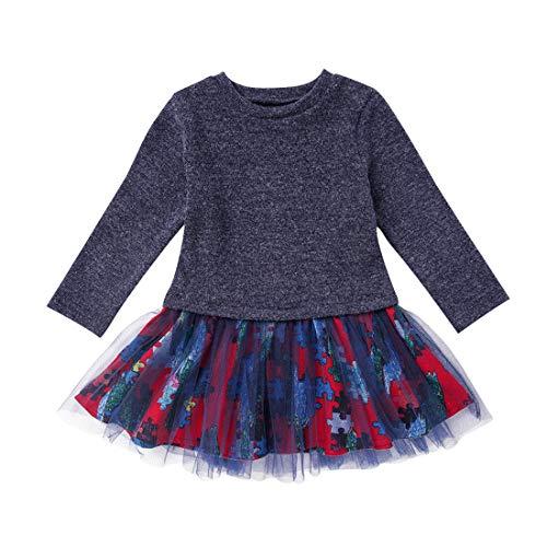 Baby Mädchen Kleid 1-6 Jahre Gaze Tutu Prinzessin Kleider Kinder Säugling Stichsägen Muster Partei Tüll Rock Langarm Nette Gestrickte Baumwolle