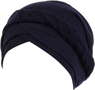 iLXHD Women Muslim Solid Plait India Hat Muslim Ruffle Cancer Chemo Beanie Turban Wrap Cap