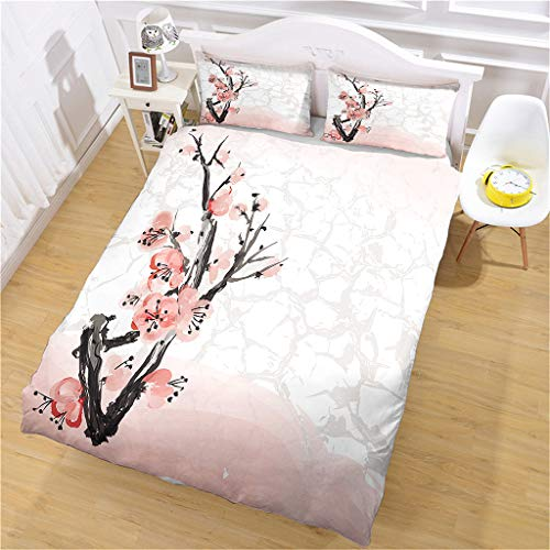 OUHGPP Duvet Cover Sets Singledouble Size 200X200 Abstract Chinese Painting Plum Blossom 3D Print Bedding Set 3 Pcs Ultra Soft Microfiber Quilt Cover For Teen Kids Boys Girls Adult,1 Duvet Cover + 2 P