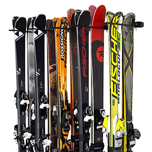 StoreYourBoard Ski and Snowboard Wall Storage Rack, Holds 10 Pairs, Ski Wall Mount, Home and Garage Storage Hanger