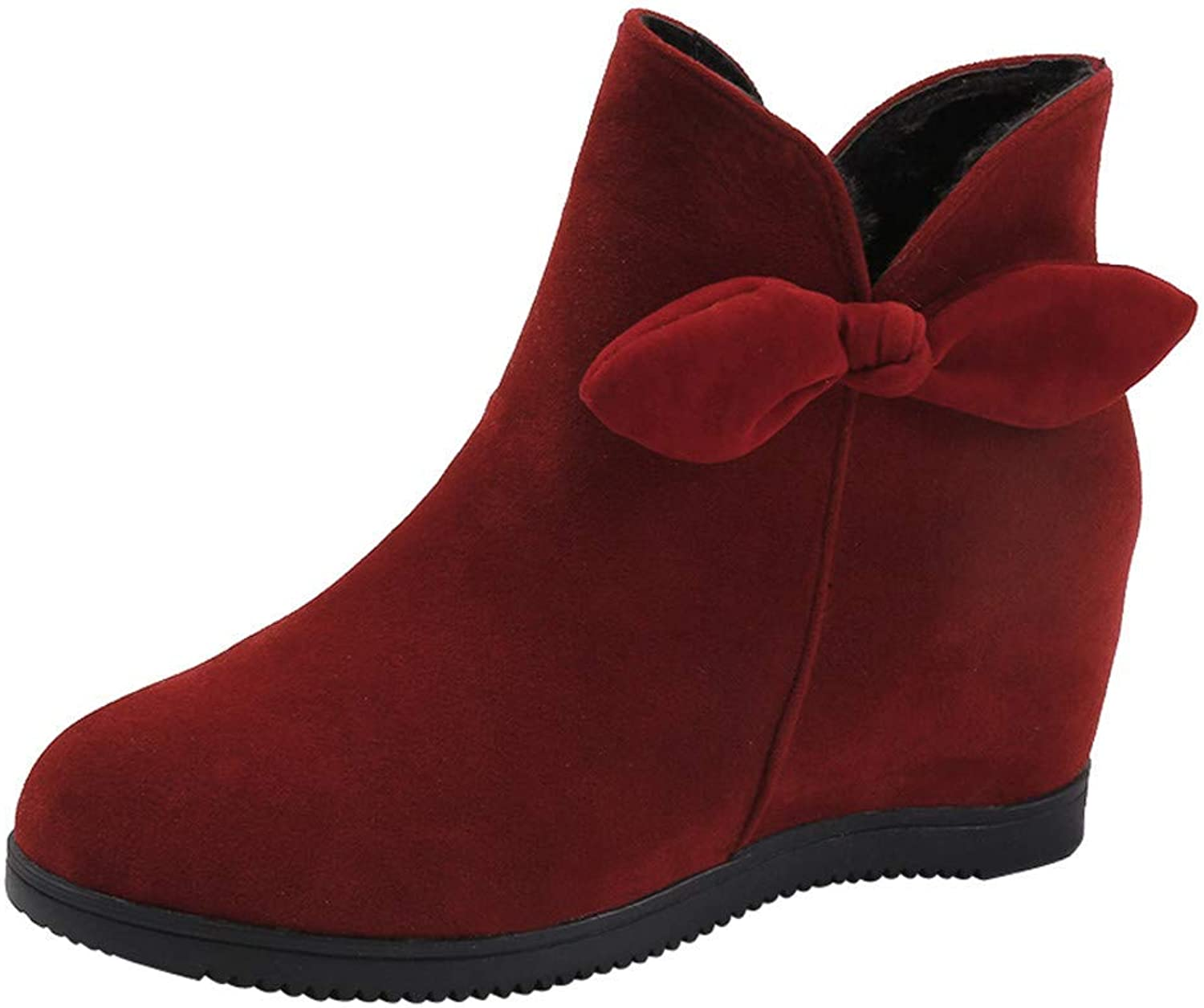 JaHGDU Women's Suede Bow Round Toe Wedges shoes Pure color shoes Zipper Martin Boots Solid color Increase Within shoes