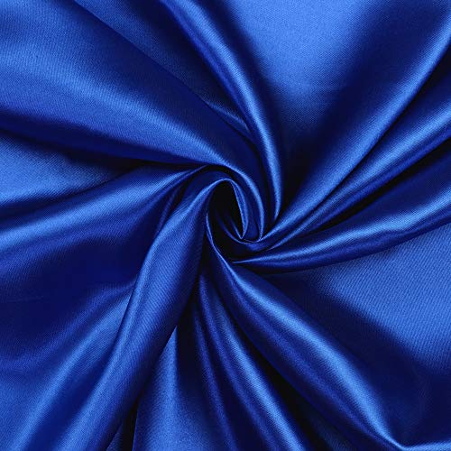 """mds Pack of 10 Yard Charmeuse Bridal Solid Satin Fabric for Wedding Dress Fashion Crafts Costumes Decorations Silky Satin 44"""" Royal Blue"""