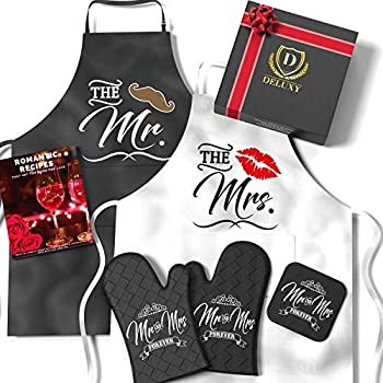 DELUXY Mr and Mrs Aprons For Happy Couple - Memorable Bridal Shower Gifts For Bride Wedding Gifts For Couples Unique 2021 Engagement Gifts For Couples Aprons Set Anniversary- Romantic Recipe Book