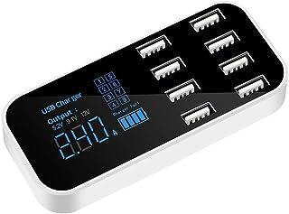 Leeofty Carregador rápido para carro A9s com 8 portas, visor LCD multiUSB, carregador de telefone 12 V, hub USB compatível...