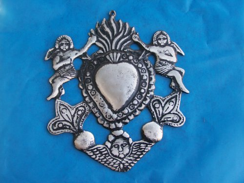 HUGE Sacred Heart with Angels Tin/Silver Milagro Ex Voto