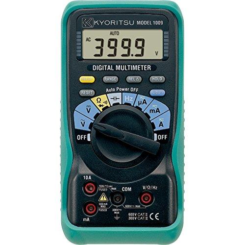 Kyoritsu KEW 1009 Digitaler Multimeter für AC/DC-Spannungen, AC/DC-Stromstärke, Widerstand, Kontinuität, Diodentest, Kapazität, Frequenz, grau