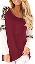Women Leopard Print Long Sleeve t Shirt Splicing Blouses Casual Tops Patchwork Pullovers