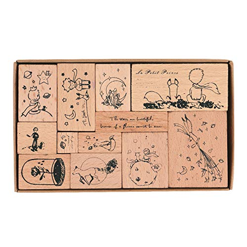 Wooden Rubber Stamps, NogaMoga 12pcs Little Prince Rubber Stamp with 11 Sizes, Decorative Rubber Seal for Card, DIY, Paper Crafts, Bullet Journal, Photo Album, Hand Book