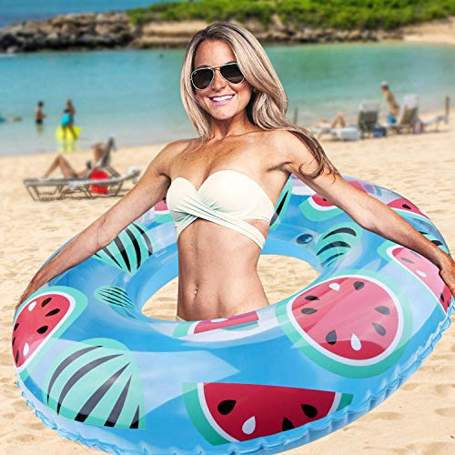 Qomolo Anello di Nuoto Salvagente Gonfiabile Manualmente Anello di Nuoto Cocomero per Piscina Mare Spiaggia (100cm)
