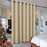 RYB HOME Wall Divider Curtain for Living Room, Noise Reduction Privacy Curtain with Anti-Rust Grommet Top Blackout Curtain for Living Room / Kids Room, 7 ft Tall x 8.3 ft Wide, Cream Beige, 1 Pack