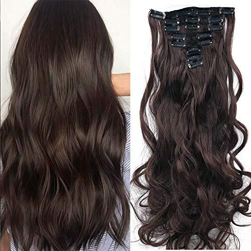 Extension a Clip Cheveux Naturel Ondulé Bouclés Extensions Cheveux Clips 8 Bands Clip in Hair Extension Curly Wavy Postiche (Brun moyen)