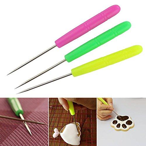 Grosun 6Pcs Sugar Stir Needle Scriber Needle, DIY Baking Pin Whisk Stainless Steel Needle Biscuit Icing Pin